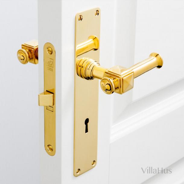 Klamka na płycie tylnej z dziurką od klucza - wnętrze - ULLMAN 112 mm - mosiądz