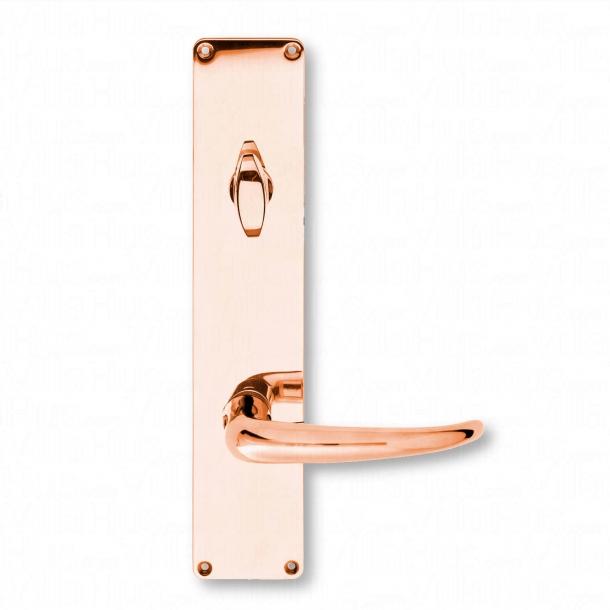 Door handle, Back plate Copper - Coupe exterior Door handle with Thumb turn - Kay Fisker