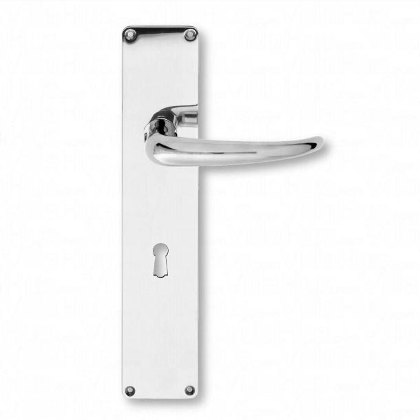 Door handle, Back plate - Coupe Door handle - Kay Fisker - with keyhole - Nickel