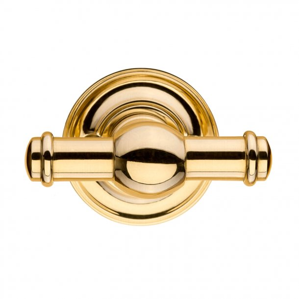 Door handle brass interiors with rosette, Model HAGMANN