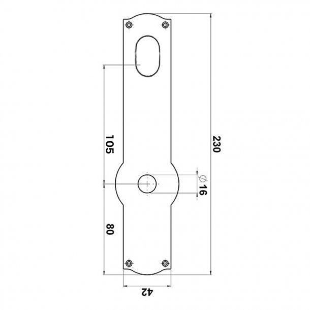 Dørgreb udendørs - Messing - Langskilt med Dobbelt Cylinderhul - Model DELFIN 145 mm