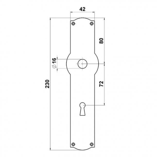 Door handle interior - Wide, Back plate - Keyhole - Brass - Weingarden 84 mm