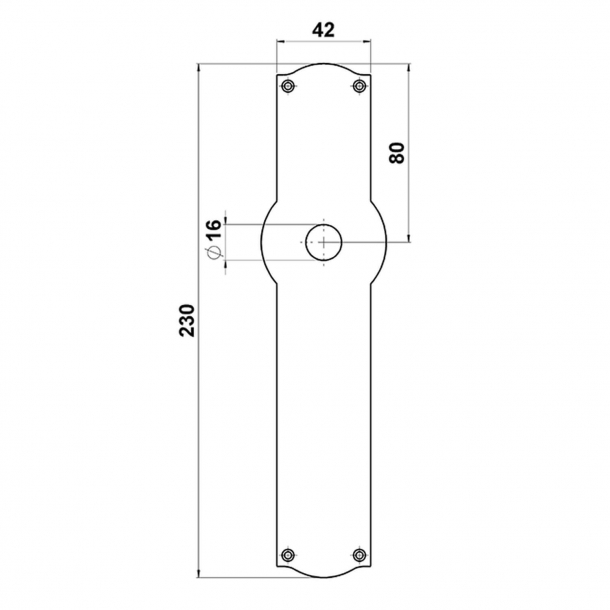 Door handle - Exterior - Brass - Back plate without keyhole - Model NEUMAN 135 mm