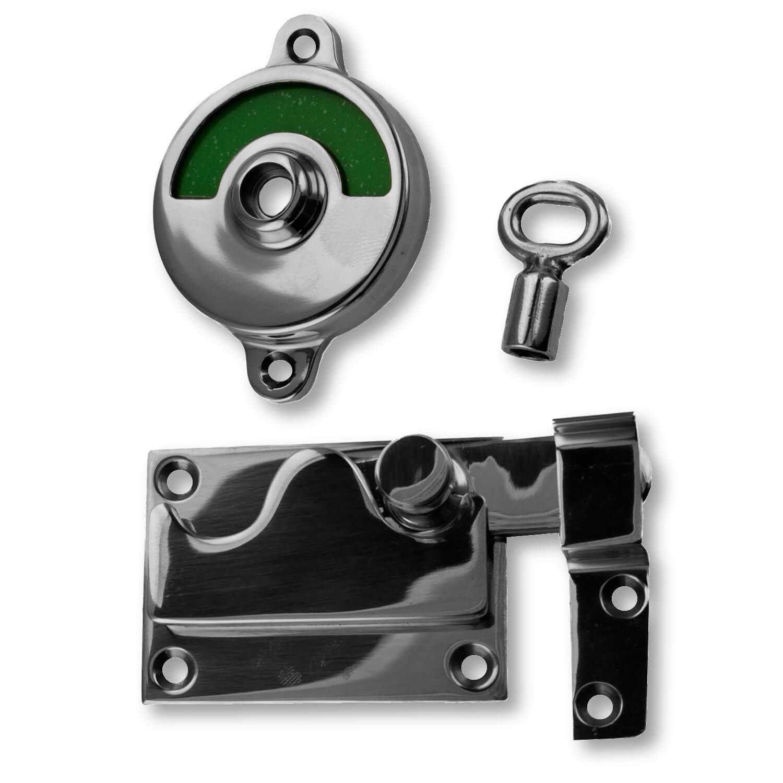Godt WC lås Fri/Optaget skilt - Krom - Model 1018 - Toiletbesætning CF51