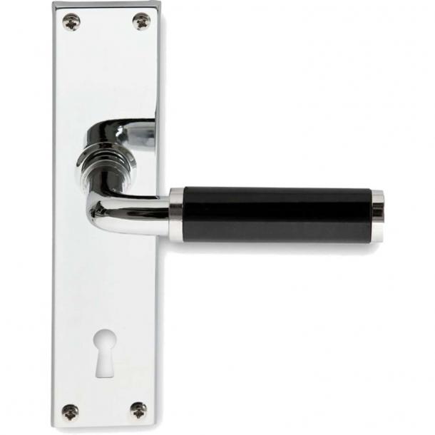 Door handle interior FUNKIS door back plate, Chrome and black Bakelite