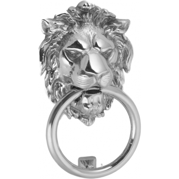 Door knocker lion head, Chromed, 140x110 mm (202708)