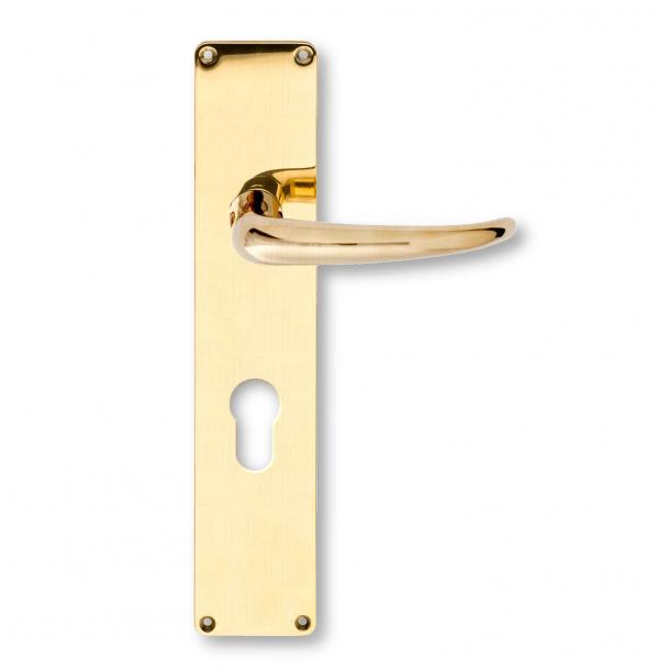 Door handle Brass - Kay Fisker Coupe handle - Europrofile cylinder - cc92mm