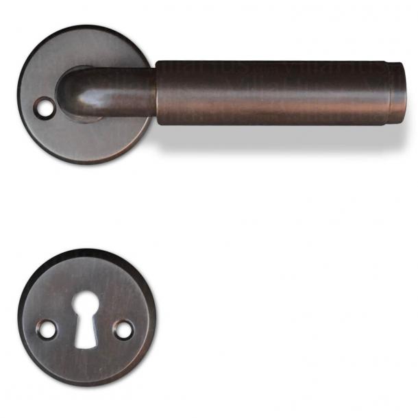 Klamka Funkis - Wnętrze - Brązowy mosiężny uchwyt drzwiowy - 20 mm - Model 383