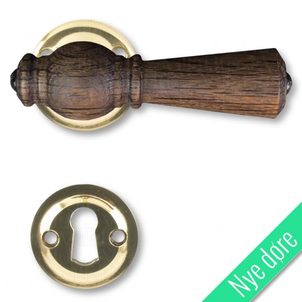Træ dørgreb indendørs, Røget Eg / Blank messing (nye døre)