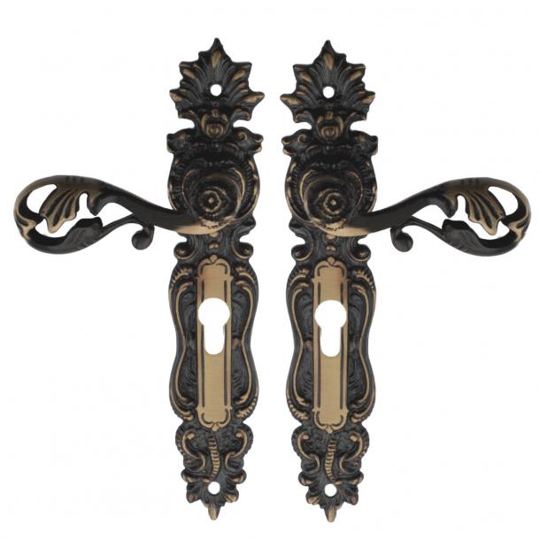 Door handle Exterior - Profile cylinder, Antique, Brass - Model L472 - cc72 mm