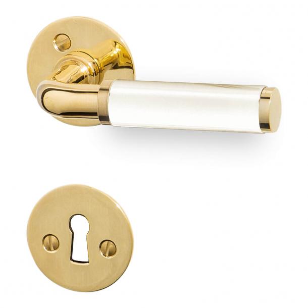 Klamka do drzwi  - Mosiądz i biały bakelit - Model 383 - 206553