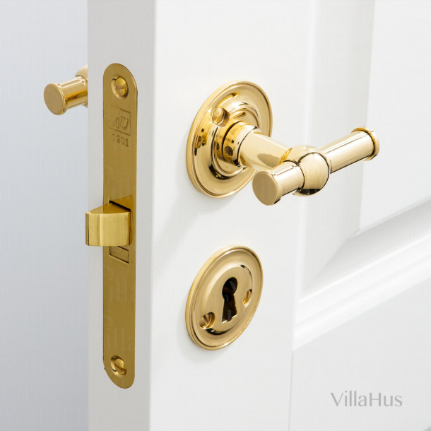 Door handles indoor - Brass without lacquer - Ornamented rosettes - Model RUNGSTED
