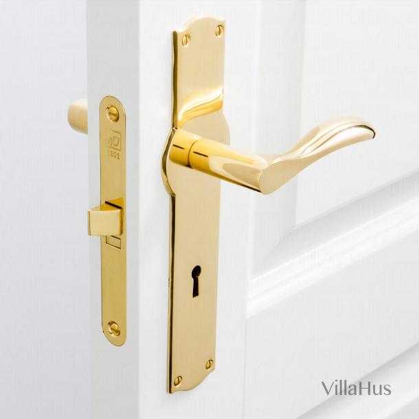 Türgriff auf Amalienborg langer Platte mit Schlüsselloch - Messing ohne Lack - Modell BELLEVUE