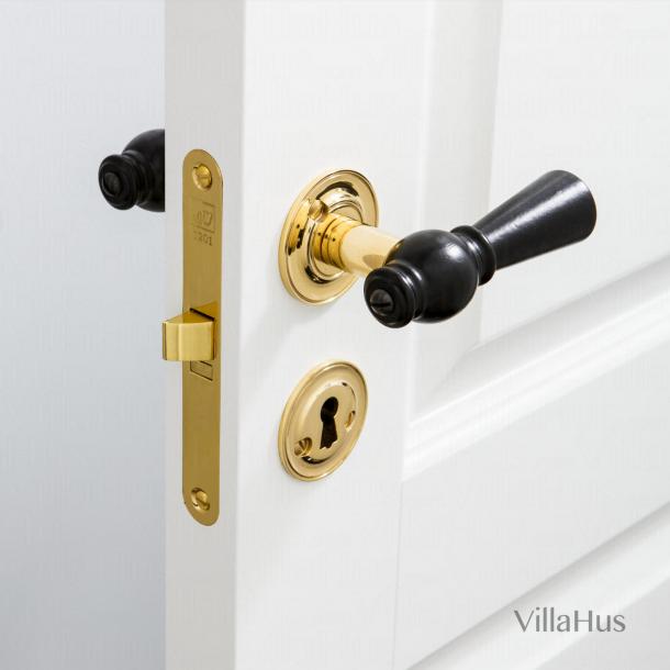 Holztürgriff drInterieur - Brass & Black Birke - Rose / Glatte Hals