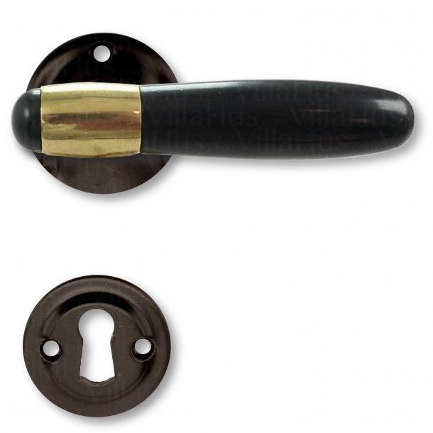 Klamka do drzwi - Mosiądz i bakelit - Model NYHAVN