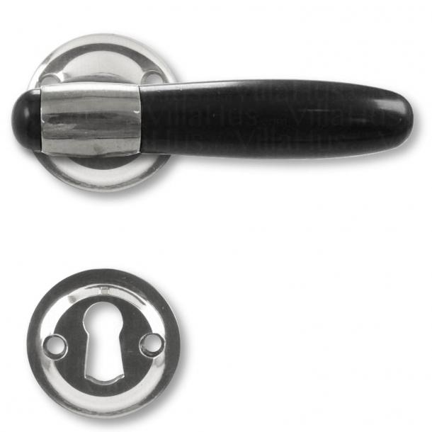 Klamka do drzwi - Nikiel / Bakelit / Nikiel błyszczący - Model NYHAVN