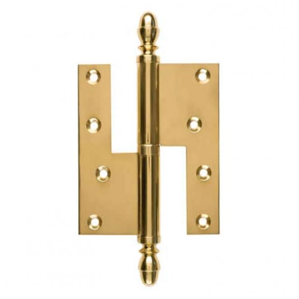 Zawias do drzwi - Prawy - 130 x 45 mm - Kwadratowy/ Nasadka w kształcie grzybka - Mosiądz