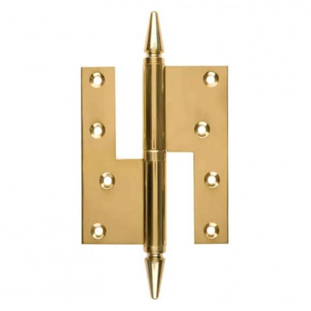 Dørhængsel, Højre - 115 x 34 mm - Firkantet/Spids knop - Messing