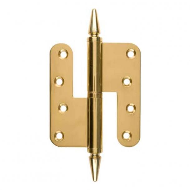 Dørhængsel, Højre - 110 x 49 mm - Rund/Spids knop - Messing