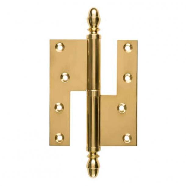 Door hinge, Left - 115 x 34 mm - Square / Acorn knob - Brass