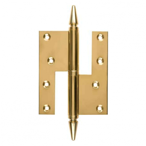 Zawias do drzwi - Lewy - 115 x 34 mm - Kwadratowy/ Spiczasta nasadka - Mosiądz