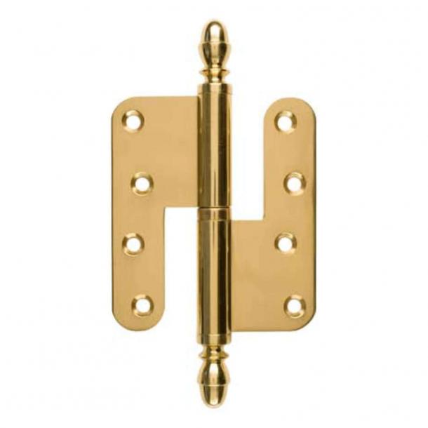 Door hinge, Left - 130 x 45 mm - Round / Acorn knob - Brass