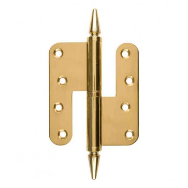Door hinge, Left - 110 x 49 mm - Round / Point Knob - Brass