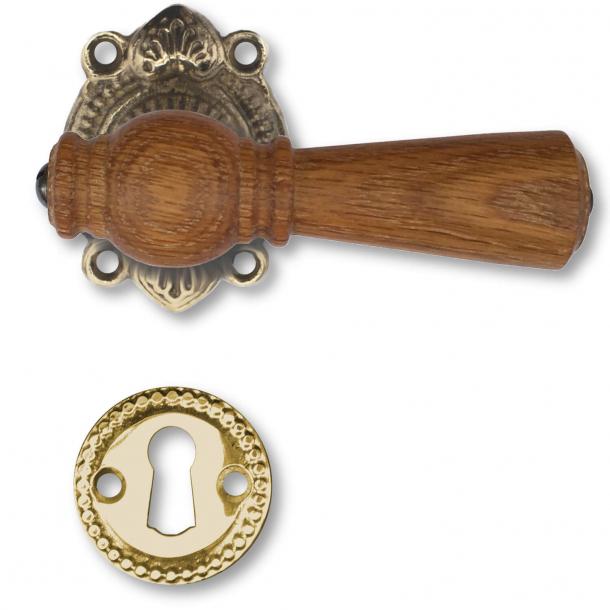 Wooden door handle interior - Rustic style brass Oak, Escutcheon without flap