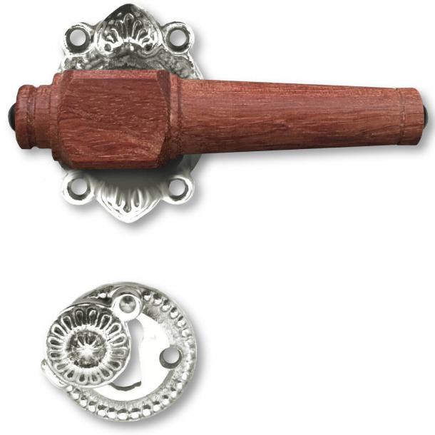 Wooden Door handle interior - Nickel plated brass and Rosewood wood