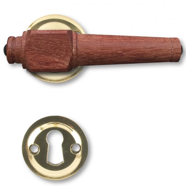 Trädörrhandtag, inomhus - Mässing och rosenträ (205231)