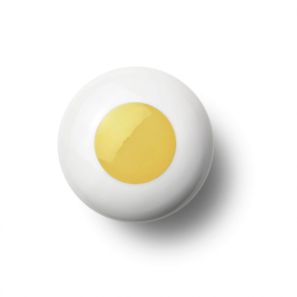 Cabinet knob or hook - Porcelain - 45 x 30 mm - Yellow - Model DOT