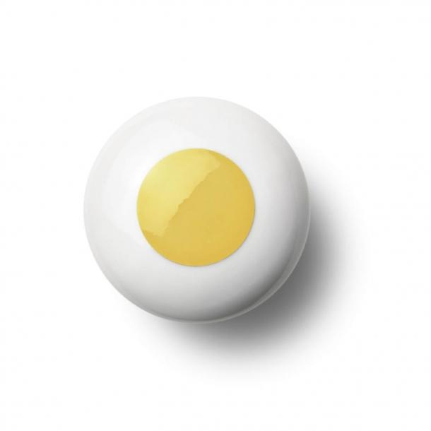 Uchwyt meblowy - Porcelana - 45 x 30 mm - Żółty - Model DOT