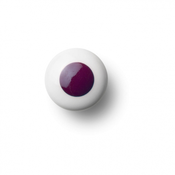 Cabinet knob or hook - Porcelain - 30 x 30 mm - Purple - Model DOT