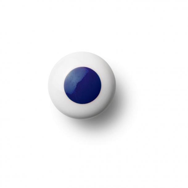 Møbelknop eller knage - Porcelæn - 30 x 30 mm - Mørkeblå - Model DOT