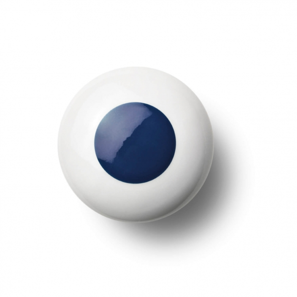 Möbelknopf oder Knopf - Porzellan - 45 x 30 mm - Dunkelblau - Modell DOT