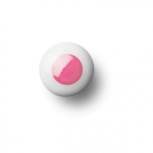Gałka do mebli lub haczyk - Porcelana - 30 x 30 mm - Różowy - Model DOT
