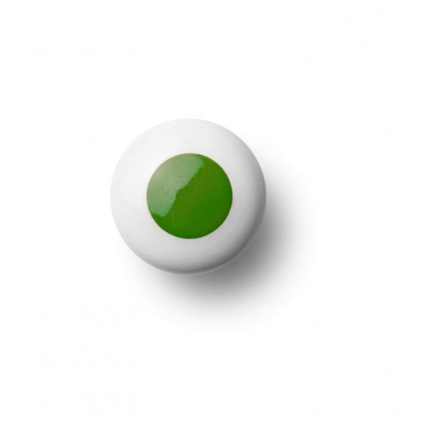 Cabinet knob or hook - Porcelain - 30 x 30 mm - Dark green - Model DOT
