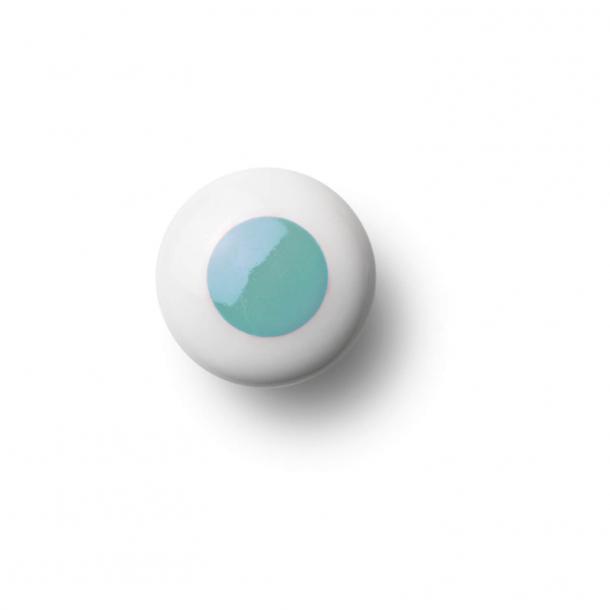 Furniture knob or hanging - Porcelain - 30 x 30 mm - Light blue - Model DOT