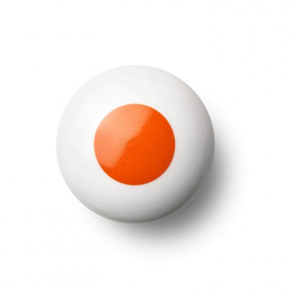 Cabinet knob or hook - Porcelain - 45 x 30 mm - Orange - Model DOT