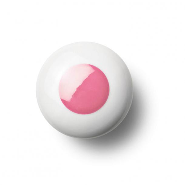 Cabinet knob or knob - Porcelain - 45 x 30 mm - Pink - Model DOT