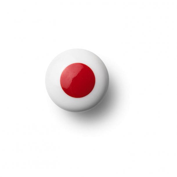 Cabinet knob or knob - Porcelain - 30 x 30 mm - Red - Model DOT