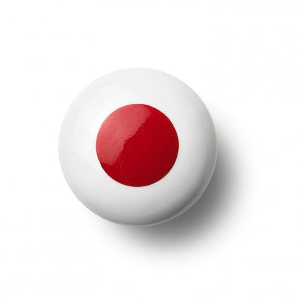 Möbelknapp eller knopp - Porslin - 45 x 30 mm - Röd - Modell DOT