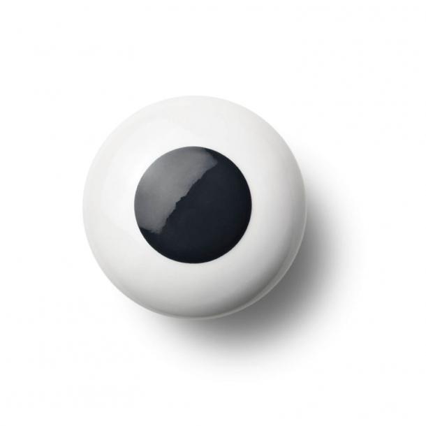 Cabinet knob or hook - Porcelain - 45 x 30 mm - Black - Model DOT