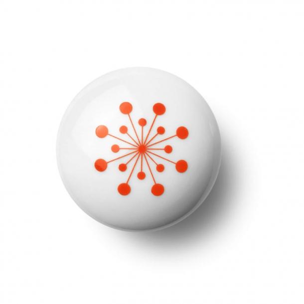 Cabinet knob or knob - Porcelain - 45 x 30 mm - Orange - Model FLOWER