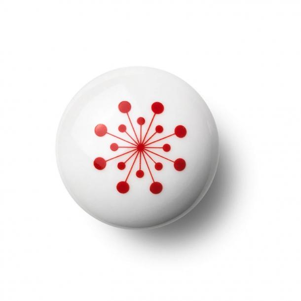Möbelknopf oder Knopf - Porzellan - 45 x 30 mm - Rot - Modell FLOWER