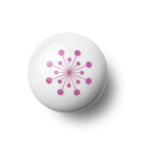 Cabinet knob or hook - Porcelain - 45 x 30 mm - Pink - Model FLOWER