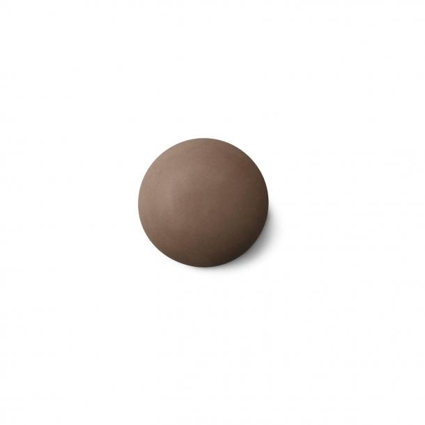 Cabinet knob or hook - Anne Black Porcelain - 30 x 30 mm - Brown - Model MAT