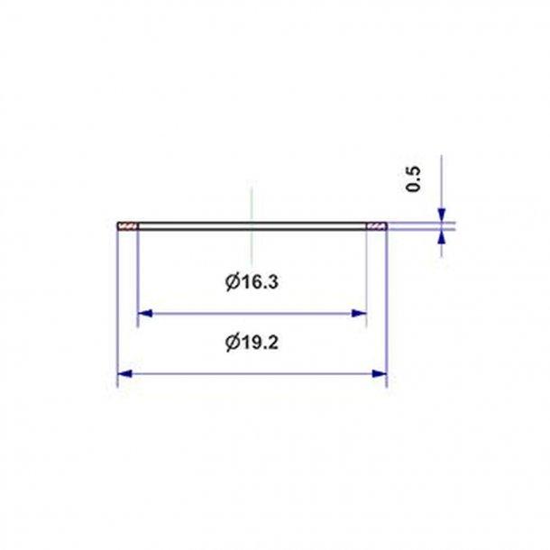 Flachdichtung d 16x19x0,5 mm