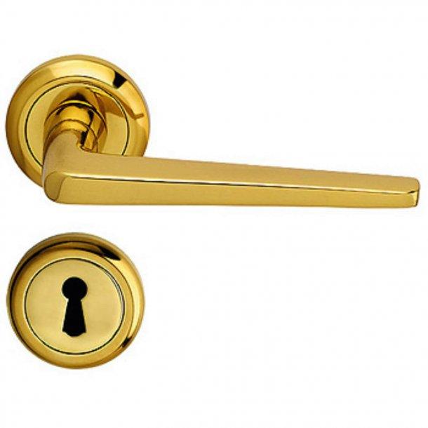 Door handle - Interior - Italian door handle - Brass - Rosette and Escutcheon - Model DELTA
