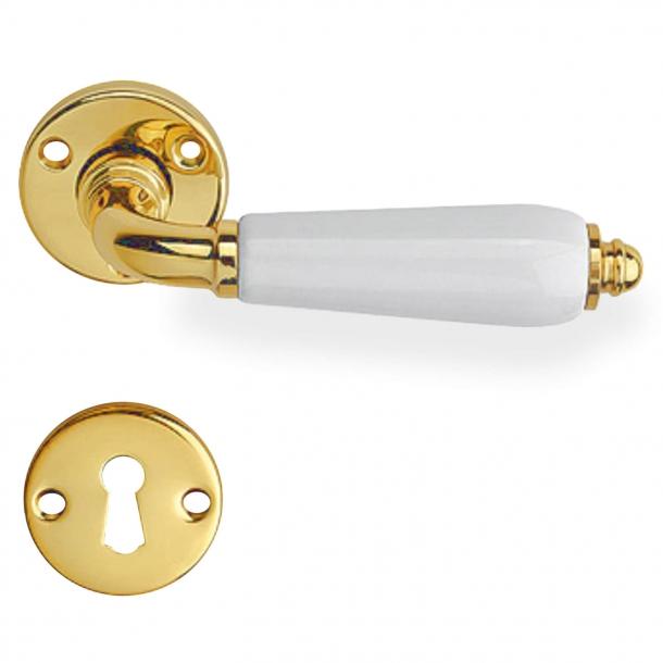 Inomhus dörrhandtag, mässing och porslinshandtag - Modell Raphael Blanc